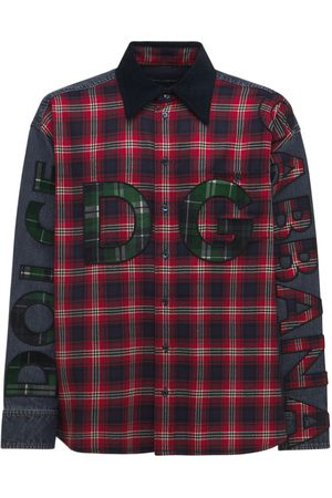 Dolce & Gabbana Men Casual - Oversize Logo Flannel & Denim Shirt