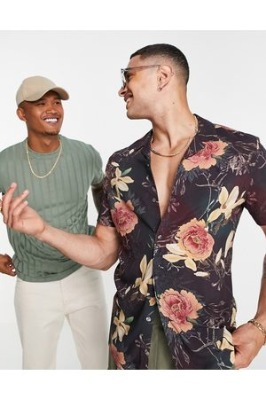ASOS Men Short sleeves - Ombre floral placement shirt in