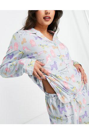 Chelsea Peers Dog print pajama set in blue-Blues