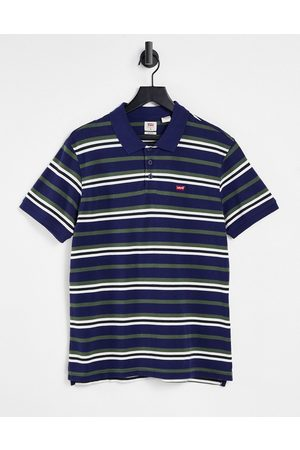 Levi's Men Polo Shirts - Batwing logo stripe polo in navy