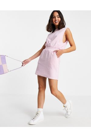 ASOS Women Party Dresses - Towelling sleeveless ruched waist mini dress in baby