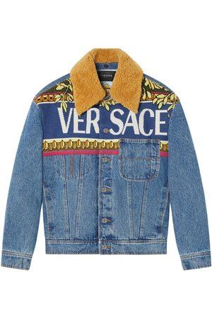 VERSACE Men Denim Jackets - Logo Denim Jacket Blue