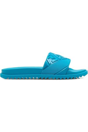 Fendi Men Sandals - 3D Logo Slide Sandals Turquoise