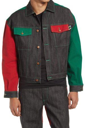 CROSS COLOURS Men's Gender Inclusive Colorblock Cotton Denim Jacket