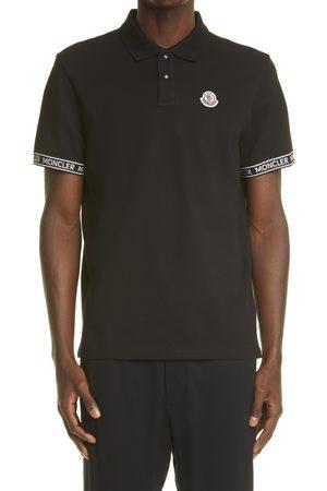 Moncler Men's Logo Patch Taped Sleeve Cotton Pique Polo