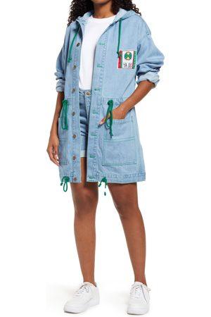 CROSS COLOURS Women's Gender Inclusive Hooded Cotton Denim Barn Jacket