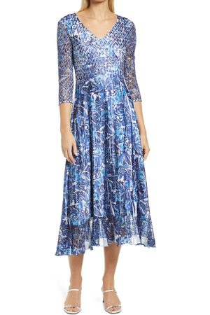 Komarov Women's Lace Sleeve Charmuse Midi Cocktail Dress