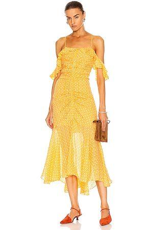 JONATHAN SIMKHAI Naomi Polka Dot Ruched Front Dress in