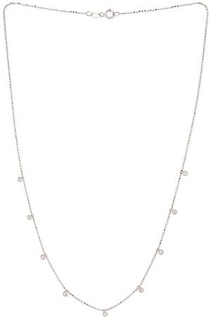 STONE AND STRAND Teeny Dangling Diamond Bead Chain Necklace in Metallic Silver