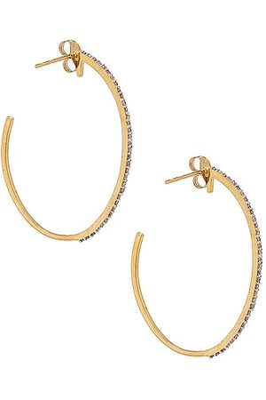 STONE AND STRAND XL Pave Hoop Earrings in Metallic