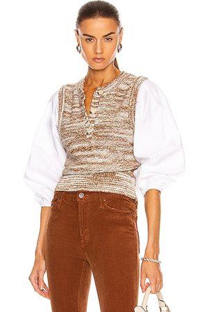 VERONICA BEARD Tahlea Mixed Media Sweater in Brown