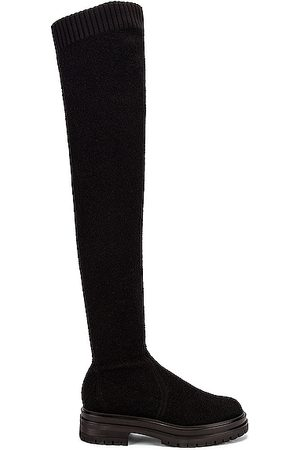 Gianvito Rossi Women Thigh High Boots - Knit Boucle Over the Knee Boots in