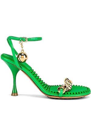 Bottega Veneta Heel Ankle Strap Sandals in Green