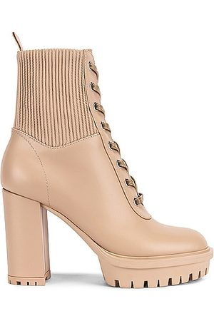 Gianvito Rossi Martis Lace Up Boots in Neutral