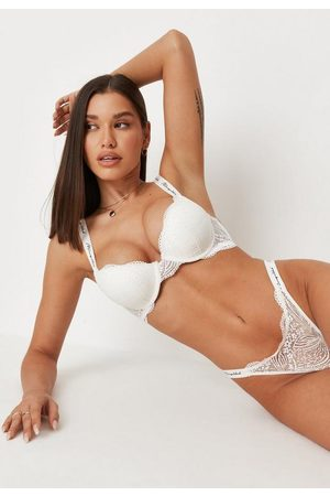 Missguided Women Padded Bras - Script Lace Push Up Padded Bra