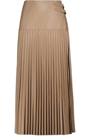 JONATHAN SIMKHAI Leona pleated faux leather midi skirt