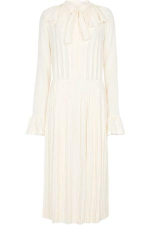 Victoria Beckham Collared pleated silk midi dress