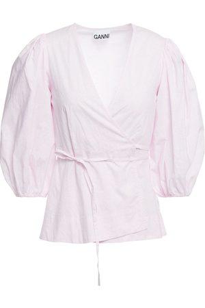Ganni Women Wrap tops - Woman Gathered Leopard-print Cotton-poplin Wrap Top Pastel Size 38