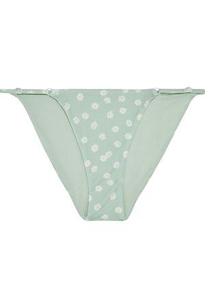 ONIA Women Bikinis - Woman Hannah Floral-print Low-rise Bikini Briefs Mint Size S