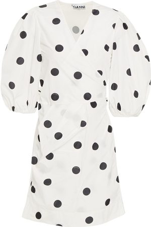 Ganni Women Party Dresses - Woman Pleated Polka-dot Shell Mini Wrap Dress Size 38