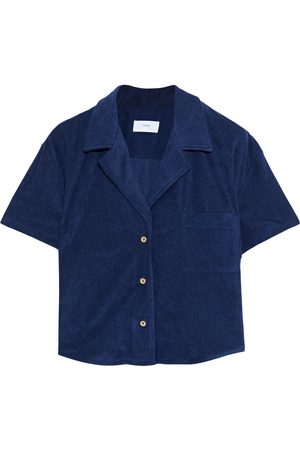 ONIA Women Short sleeves - Woman Celeste Cropped Cotton-blend Terry Shirt Navy Size S