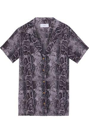 ONIA Woman Vacation Snake-print Cotton-voile Shirt Animal Print Size L