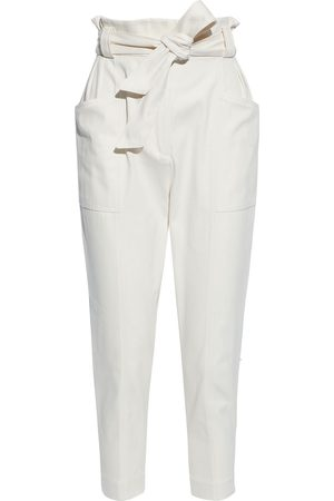 IRO Women Pants - Woman Cropped Belted Cotton And Wool-blend Tapered Pants Off- Size 36
