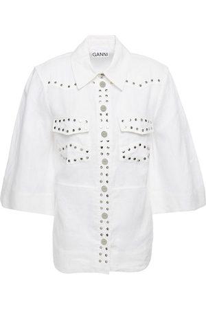 Ganni Woman Studded Linen Shirt Size 38