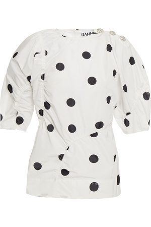 Ganni Woman Button-detailed Ruched Polka-dot Shell Top Size 34