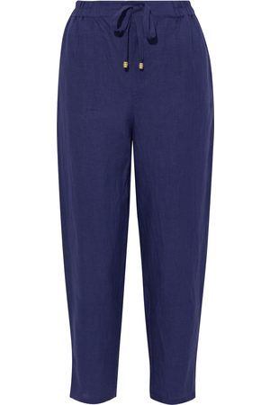 ONIA Woman Easy Cropped Linen Tapered Pants Navy Size S