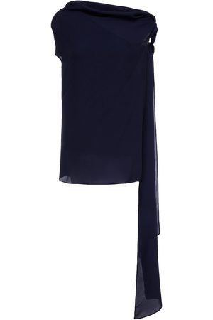 Roland Mouret Women Strapless Tops - Woman Ozora Off-the-shoulder Bow-detailed Silk Crepe De Chine Top Navy Size 10