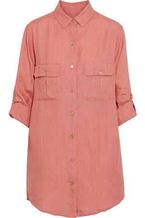 ONIA Women Shirts - Woman Boyfriend Oversized Crinkled Linen-gauze Shirt Antique Rose Size S