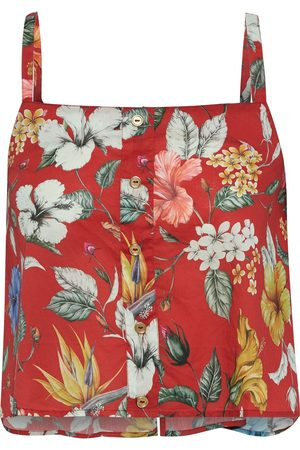 ONIA Women Tank Tops - Woman Bree Cropped Floral-print Cotton-voile Top Size S