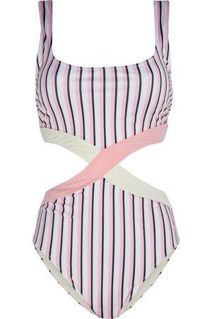 Morgan Lane Woman Jeysa Cutout Striped Swimsuit Baby Size XS