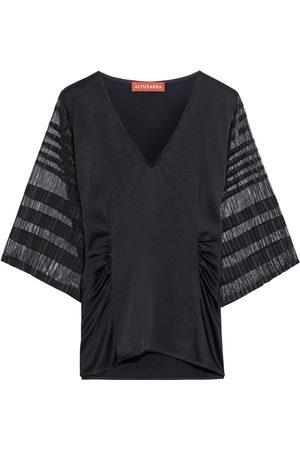 Altuzarra Women Tops - Woman Brys Pleated Mesh-paneled Satin-crepe Top Size 38