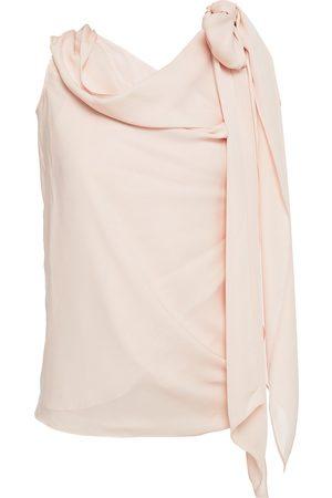 Roland Mouret Woman Ozora Off-the-shoulder Bow-detailed Silk Crepe De Chine Top Pastel Size 10