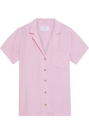 ONIA Woman Vacation Crinkled Linen-gauze Shirt Baby Size L