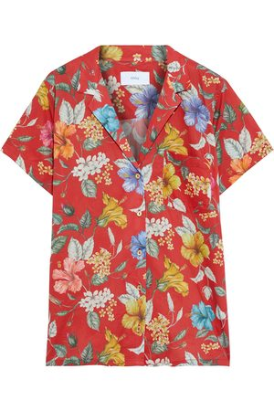 ONIA Women Short sleeves - Woman Vacation Floral-print Cotton-voile Shirt Size S