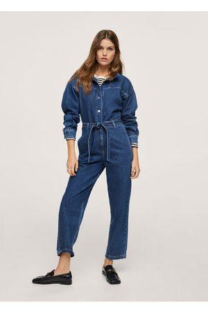 MANGO Women Jeans - Belt denim jumpsuit