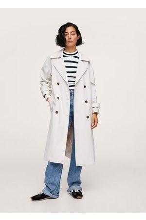 MANGO Women Trench Coats - Oversize leather-effect trench coat