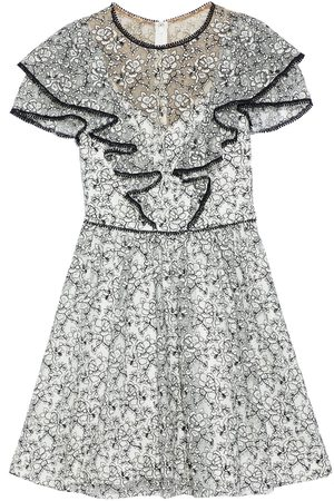 Ml Monique Lhuillier Women Party Dresses - Woman Ruffled Embroidered Tulle Mini Dress Size 4