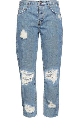 Current/Elliott Women High Waisted - Woman The Original Distressed High-rise Straight-leg Jeans Light Denim Size 23