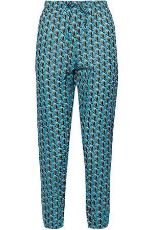 Diane von Furstenberg Women Swimwear - Woman Simone Printed Cotton-voile Tapered Pants Turquoise Size S