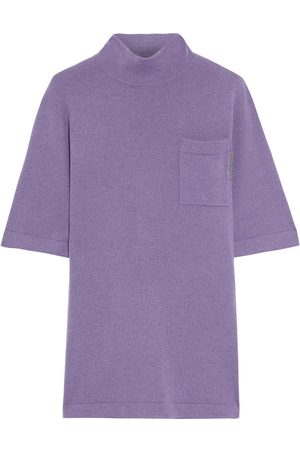 Brunello Cucinelli Women Tops - Woman Bead-embellished Cashmere Top Lilac Size M