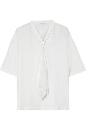 Brunello Cucinelli Women Tops - Woman Tie-neck Bead-embellished Silk Crepe De Chine Top Size M