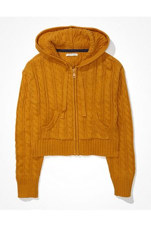 American Eagle Outfitters Cropped Cable Knit Zip-Up Sweater Women's XXS