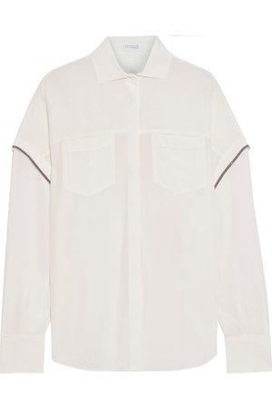 Brunello Cucinelli Women Long sleeves - Woman Bead-embellished Silk Crepe De Chine Shirt Off- Size M