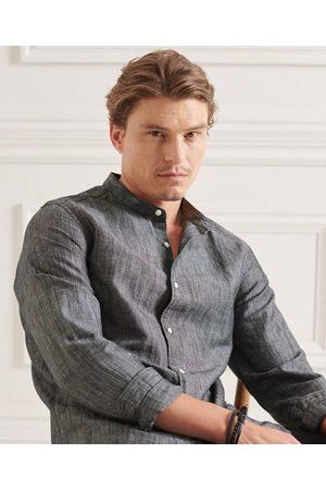 Superdry Men Long sleeves - Organic Cotton Linen Long Sleeved Grandad Shirt