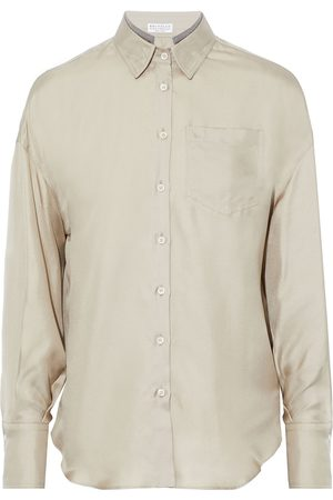 Brunello Cucinelli Women Long sleeves - Woman Bead-embellished Washed Silk-twill Shirt Size L
