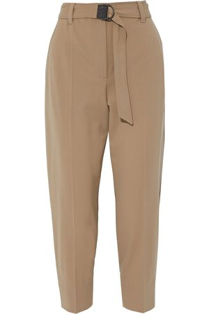 Brunello Cucinelli Women Pants - Woman Cropped Bead-embellished Wool-blend Tapered Pants Sand Size 38